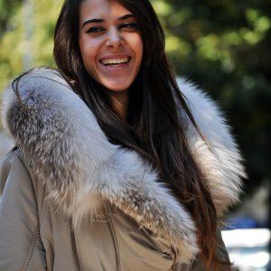 giacca in tessuto con pelliccia in volpe